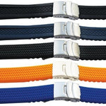 Silicone Rubber Watch Strap With 3 Fold Centre Safety Clasp 20mm - 24mm -  Inflightgoods   - 1