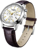 GS05253/02 Rotary Stainless Steel Gents Cambridge Chronograph Brown Leather Strap Watch