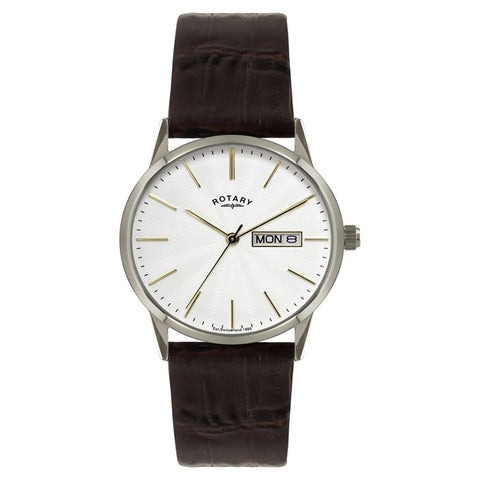 Gent's/Mens Rotary Stainless Steel Quartz/Battery Watch on Brown Leather Strap with Day & Date. GS02750/06