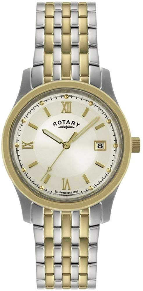 GB00793/09 Gents Stainless Steel and Gold Plated Rotary Watch