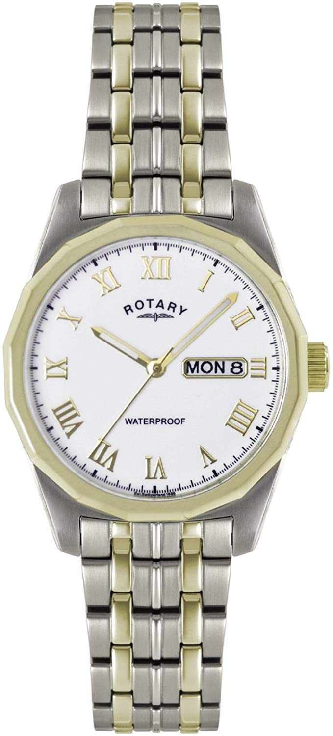 GB02227/02 Gents Stainless Steel and Gold Plated Rotary Watch