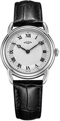Rotary Womens Canterbury Black Leather Strap Stainless Steel LS05335/21