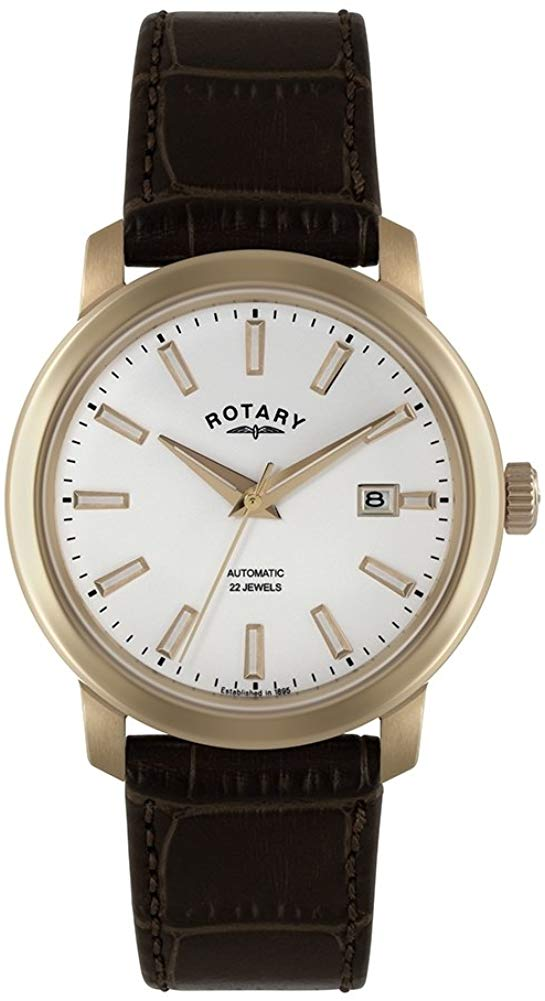 Gents Mens Gold Tone Rotary Automatic Watch on Brown Leather Strap with Date GS02811/02