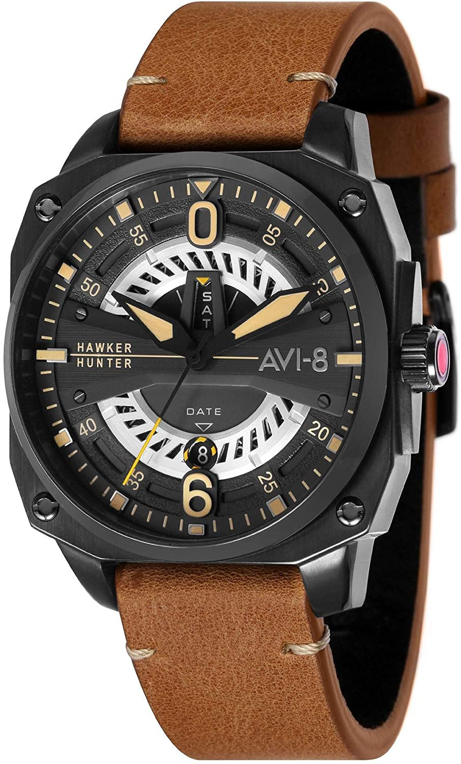 AVI-8 Hawker Hunter Men's Quartz Watch 45 mm Brown Leather Strap AV-4057-04