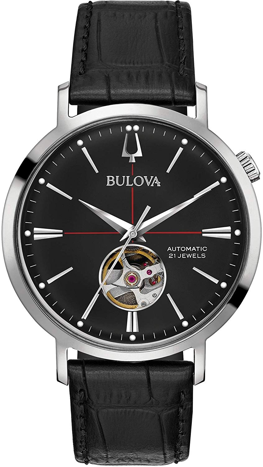 Bulova Mens Analogue Automatic Watch with Leather Strap 96A201