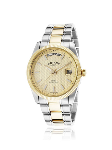 GB02661/20 Gents Rotary Stainless Steel and Gold Plated Bracelet Watch