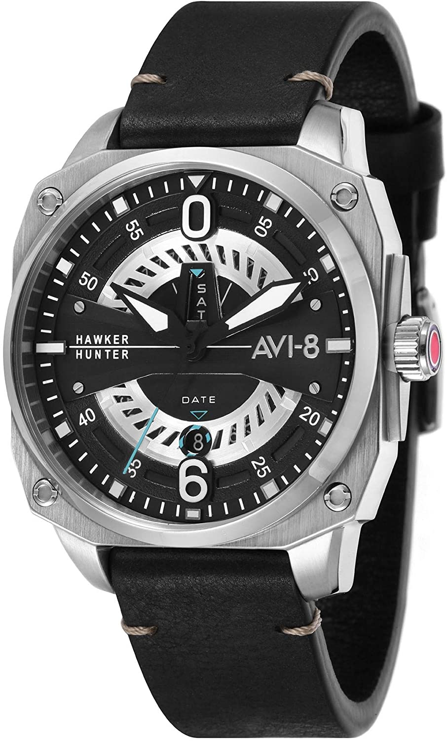 AVI-8 Hawker Hunter Men's Quartz Watch 45 mm Black Leather Strap AV-4057-01