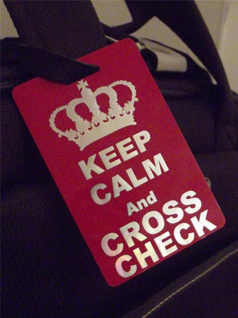 Novelty Luggage Crew Tags - Keep Calm And Cross Check -  Inflightgoods