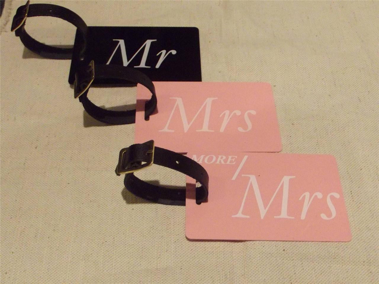 Novelty CREW LUGGAGE Tagg MR & MRS BLACK,PINK & Groom Bride  x3 -  Inflightgoods   - 1