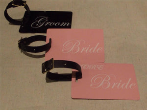 Novelty CREW LUGGAGE Tagg MR & MRS BLACK,PINK & Groom Bride  x3 -  Inflightgoods   - 3
