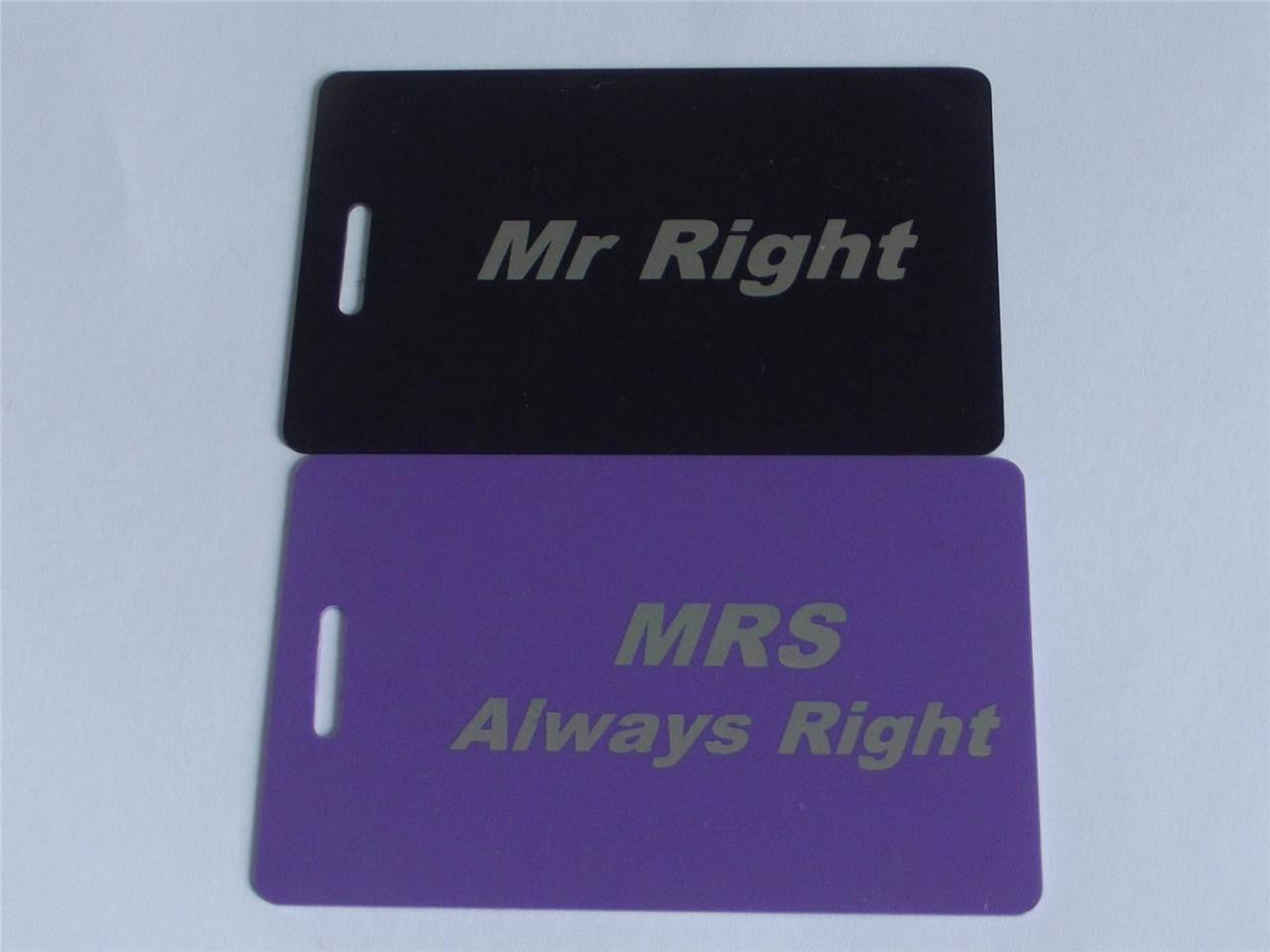 Novelty MR RIGHT /MRS ALWAYS RIGHT  LUGGAGE Tagg -  Inflightgoods   - 2