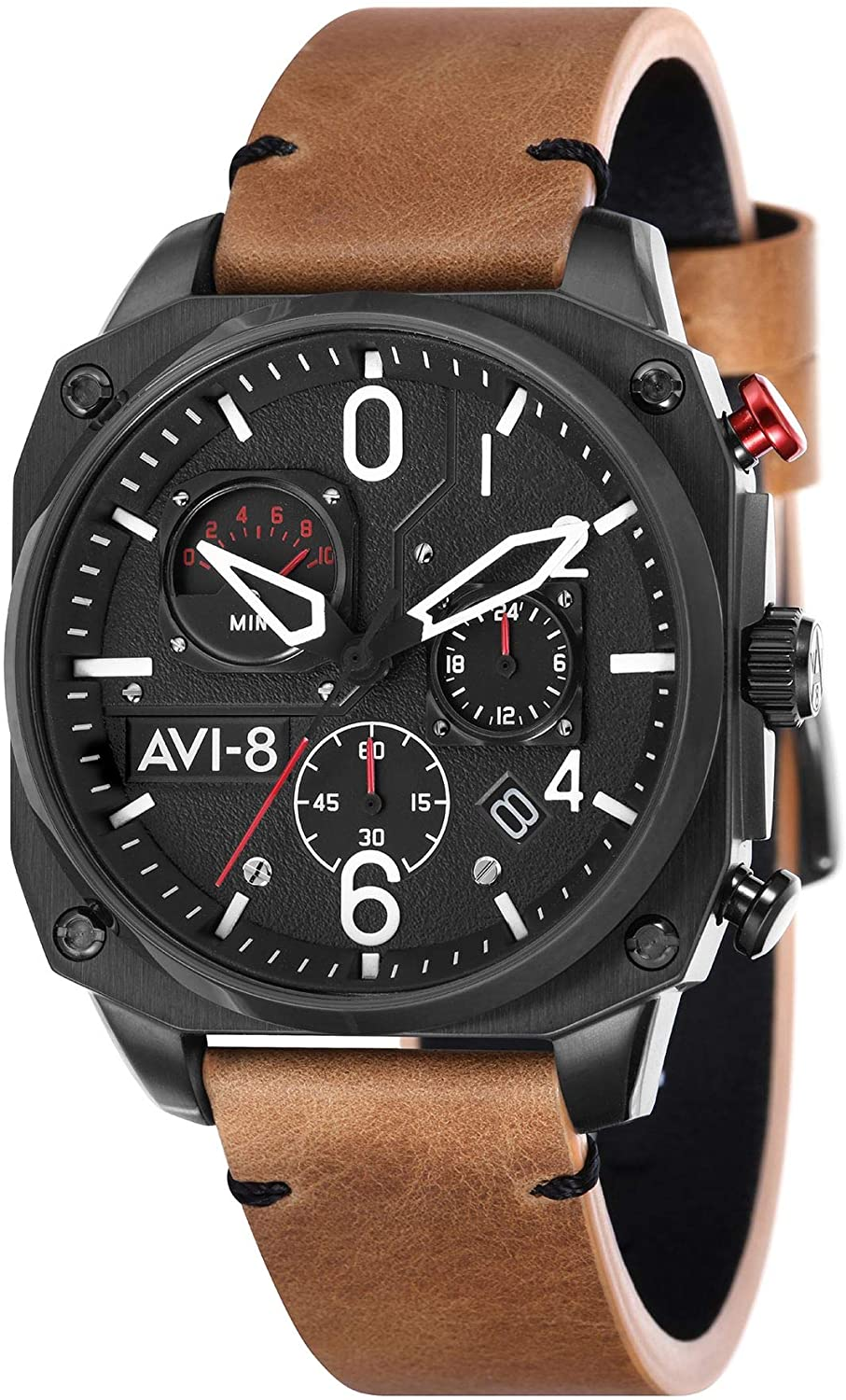 AVI-8 Hawker Hunter Men's Quartz Watch 45 mm Brown Leather Strap AV-4052-02