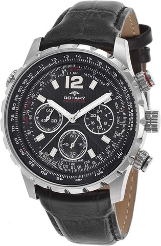 Rotary Men's Aquaspeeed Chronograph Black Textured Dial Black Genuine Leather Strap