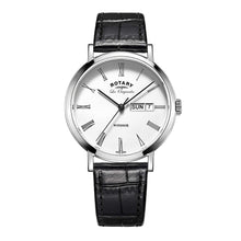 Rotary Men's Quartz Watch with White Dial Analogue Display and Black Leather Strap GS90153/01