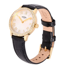 Rotary Women's Quartz Watch with White Dial Analogue Display and Black Leather Strap LS00341/01