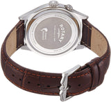 Rotary Men's Quartz Watch with Silver Dial Analogue Display and Brown Leather Strap GS02838/01
