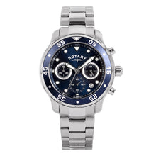 Rotary Men's Quartz Watch with Blue Dial Chronograph Display and Silver Stainless Steel Bracelet GB00318/05