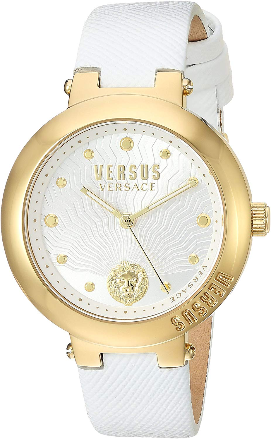 Versus by Versace Womens Analog Quartz Watch with Leather Calfskin Strap VSP370217