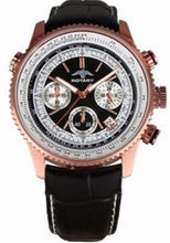 ROTARY GS00101/04 MEN'S ROSE GOLD CHRONOGRAPH BLACK DIAL GENUINE LEATHER WATCH