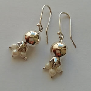 Pomegranate ball with pearls earrings