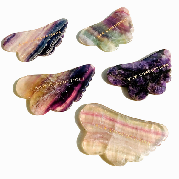 Raw Concoctions - Rainbow Fluorite Gua sha tool - For All Skin Types - Clean Beauty Booth