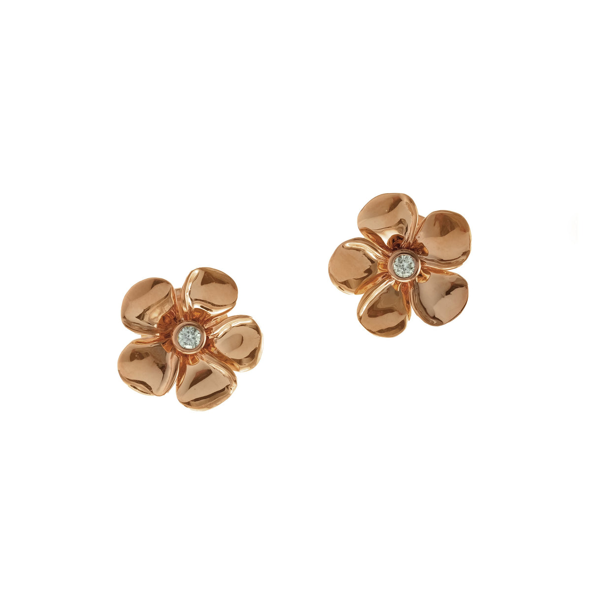 Diamond Kalachuchi Earring, Small, Shiny Finish (available in yellow, white, and rose gold)