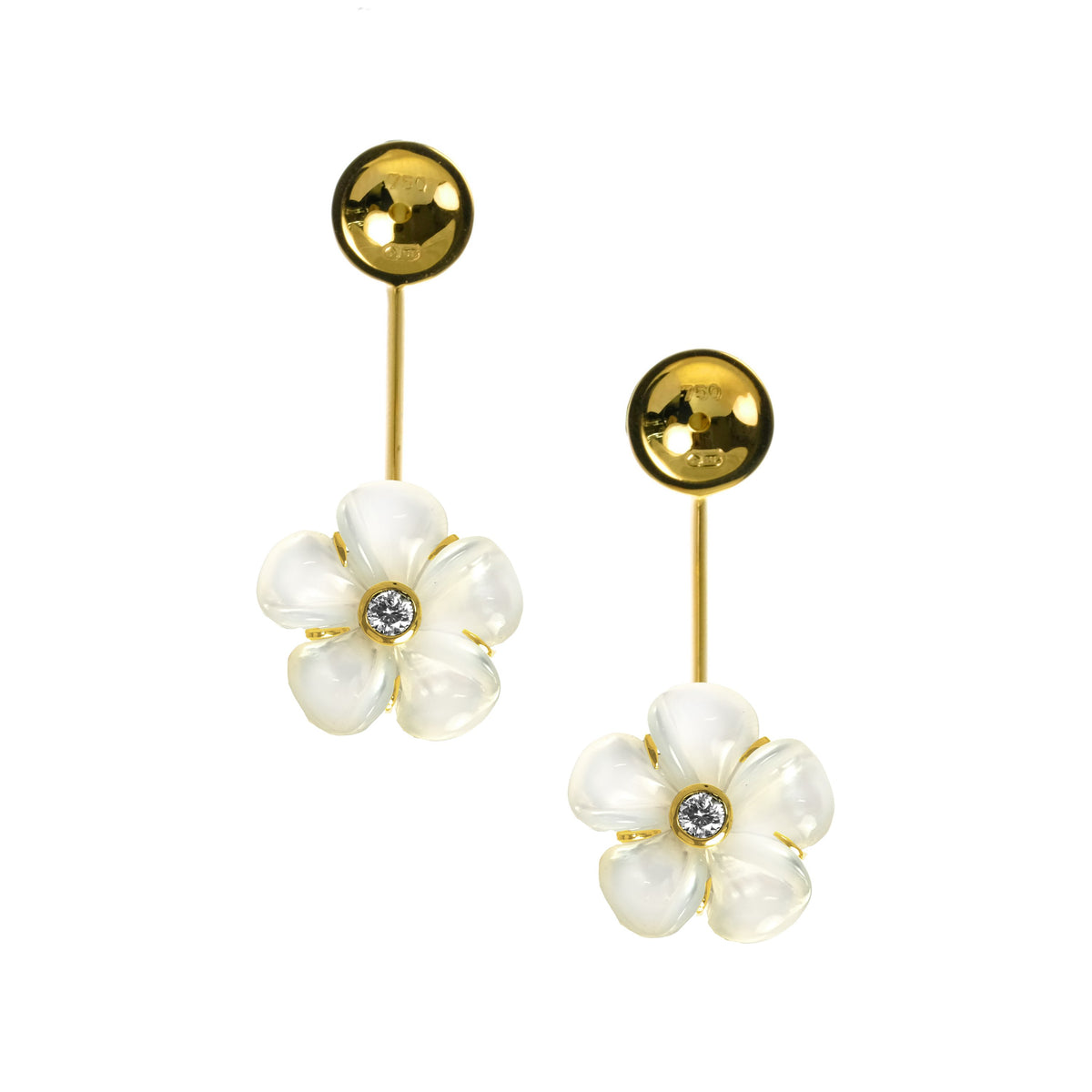 Mother of Pearl Kalachuchi Earring Lock Jacket, Small, with White Diamond (Available in yellow, white, and rose Gold)