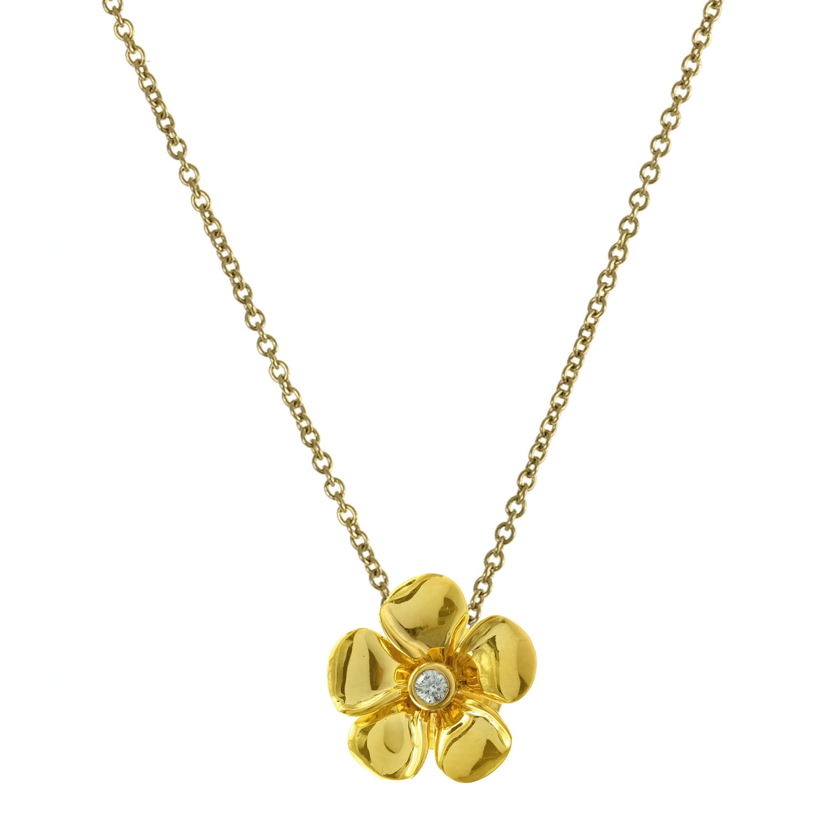Diamond Kalachuchi Necklace with Chain, Small, Shiny Finish (available in yellow, white, and rose gold)