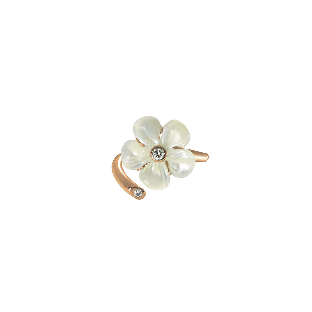 Mother of Pearl Kalachuchi Ring Gap Style, Small, with Diamond (available in yellow, white, and rose gold)