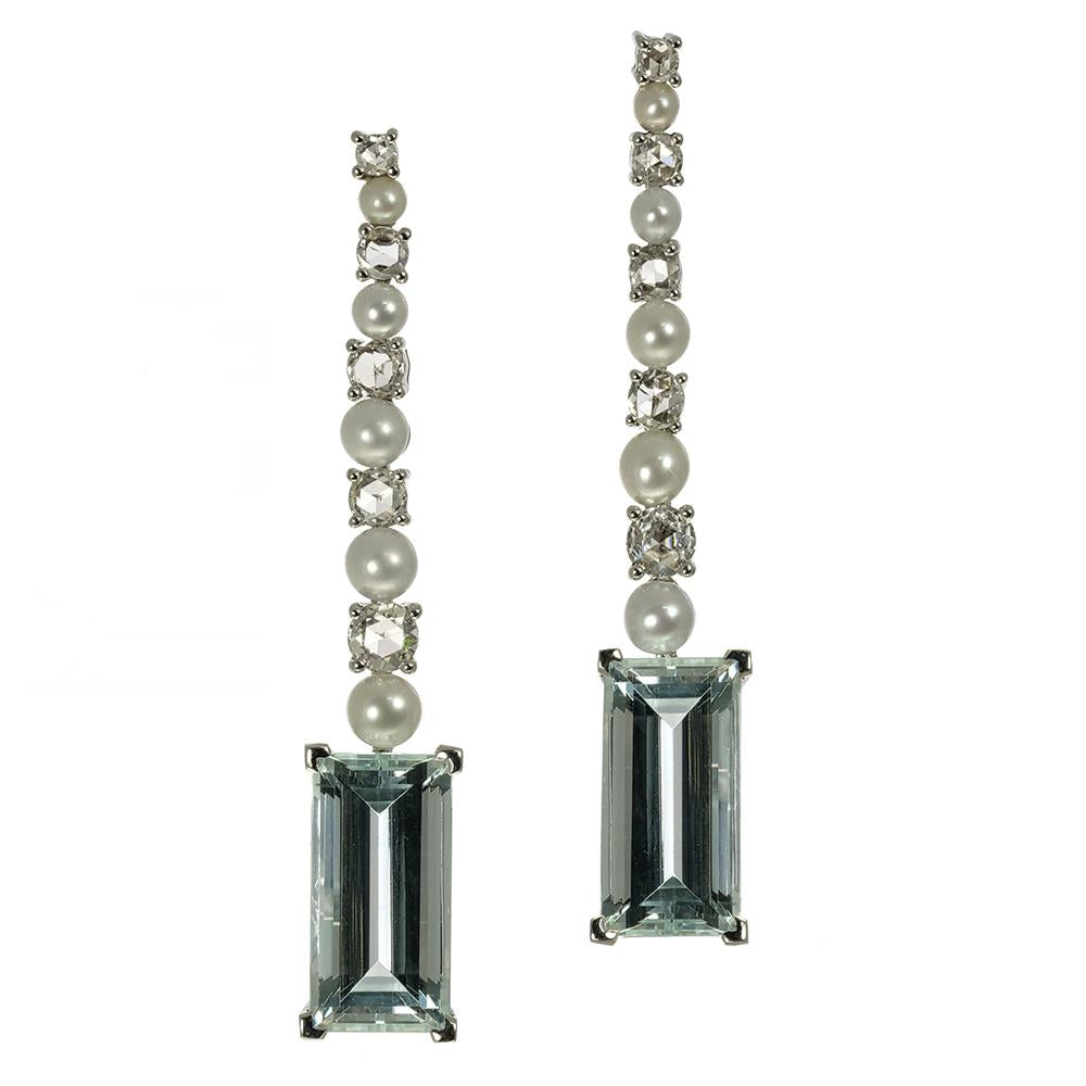 Aquamarine Earring with Diamonds and Fresh Water Pearls in White Gold