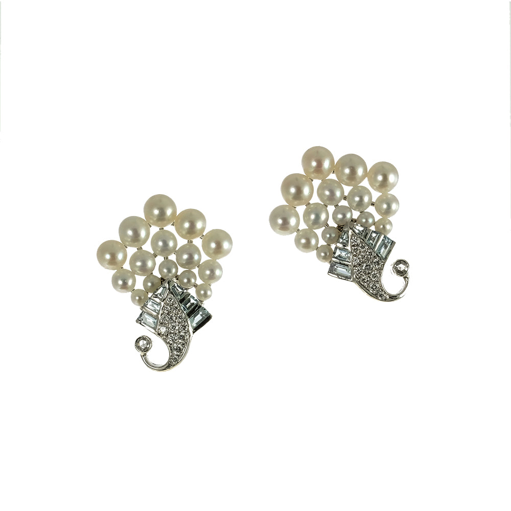 Pearls, Aquamarine and Diamond Earrings