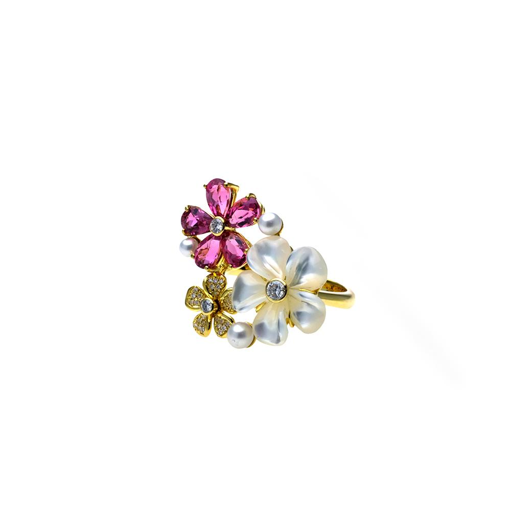 Mother of Pearl Kalachuchi Ring, Small, with Pink Tourmaline and Diamond (available in yellow, white, and rose gold)