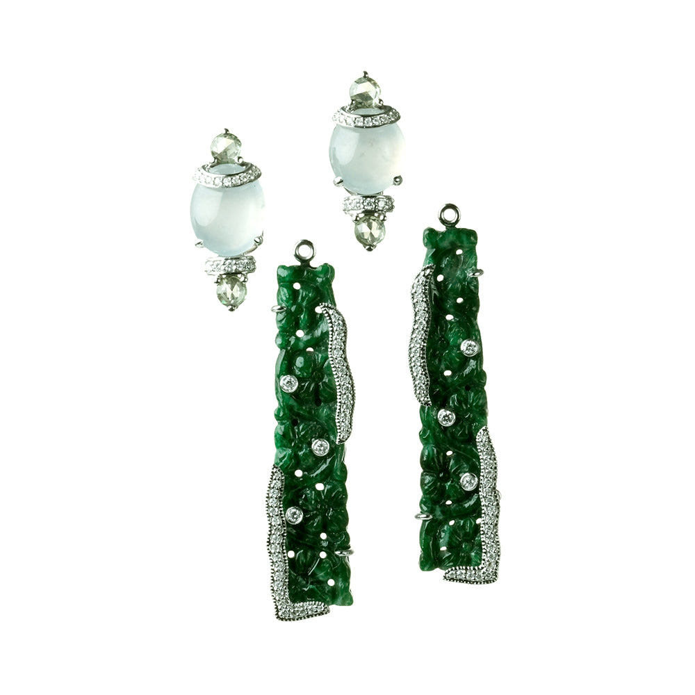 Carved and White Jade Earrings