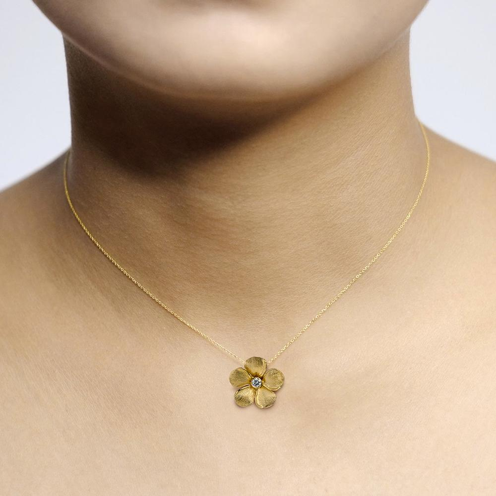 Diamond Kalachuchi Necklace with Chain, Small, Satin Finish (available in yellow, white, and rose gold)