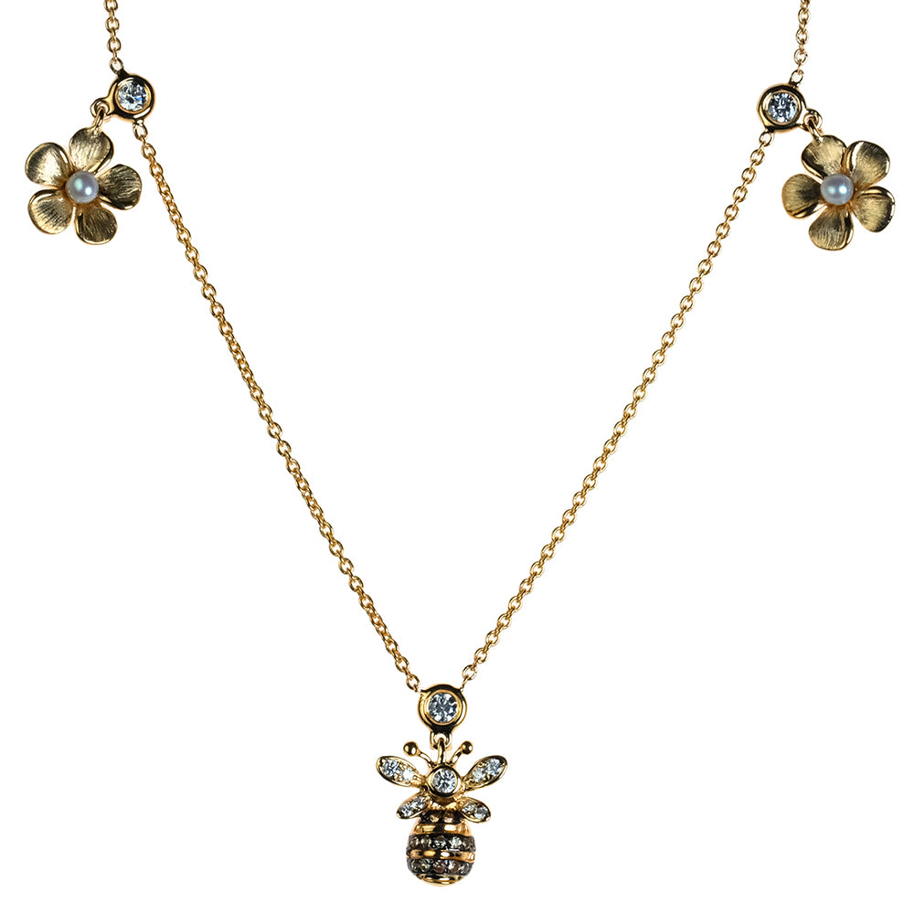 Diamond Kalachuchi and Bee Necklace with Chain, Satin Finish (available in yellow, white, and rose gold)