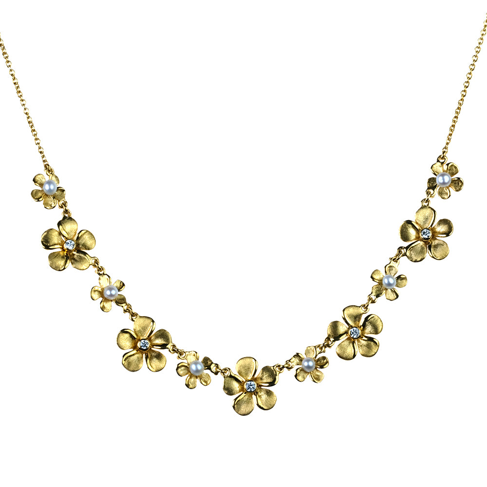 Diamond Kalachuchi Necklace, with Pearls, Assorted Sizes, Satin Finish (available in yellow, white, and rose gold)