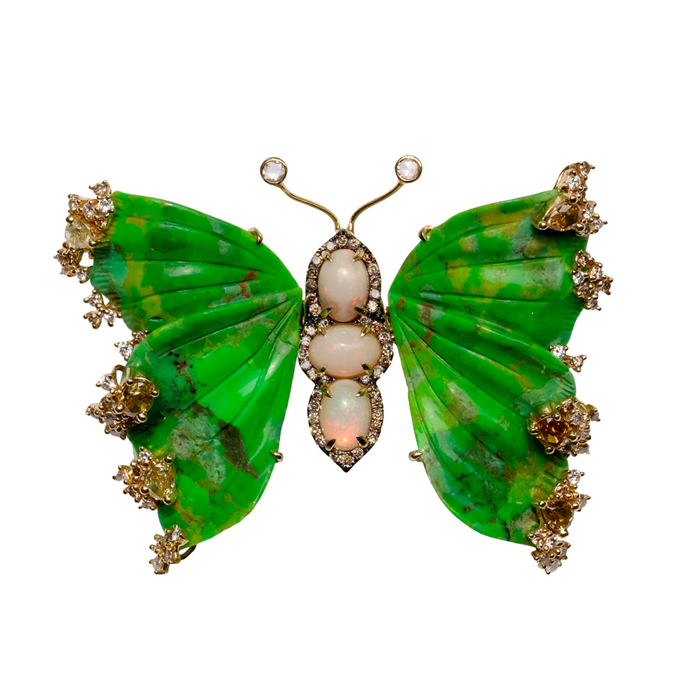 Green Turquoise, Opal and Colored Diamond Butterfly Pin