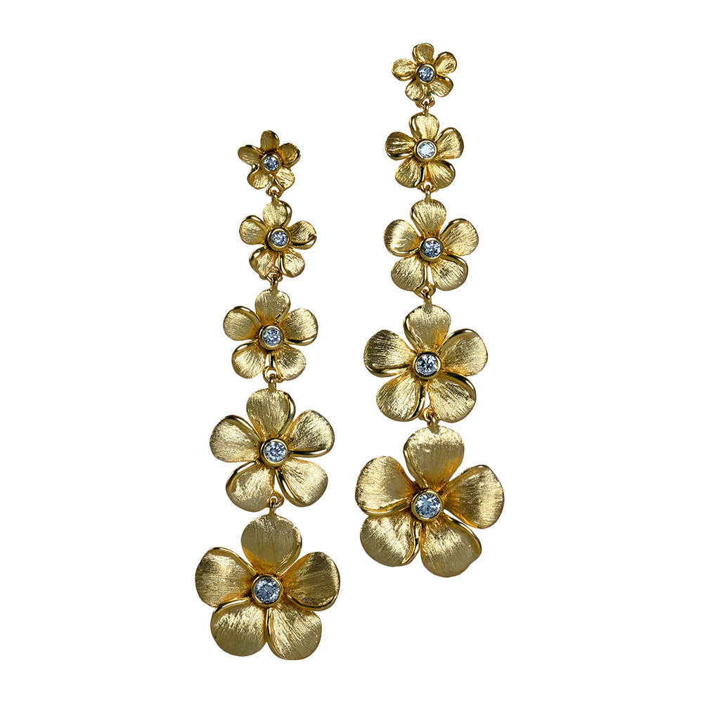 Diamond Kalachuchi Earring, Assorted Sizes, Satin Finish (available in yellow, white, and rose gold)