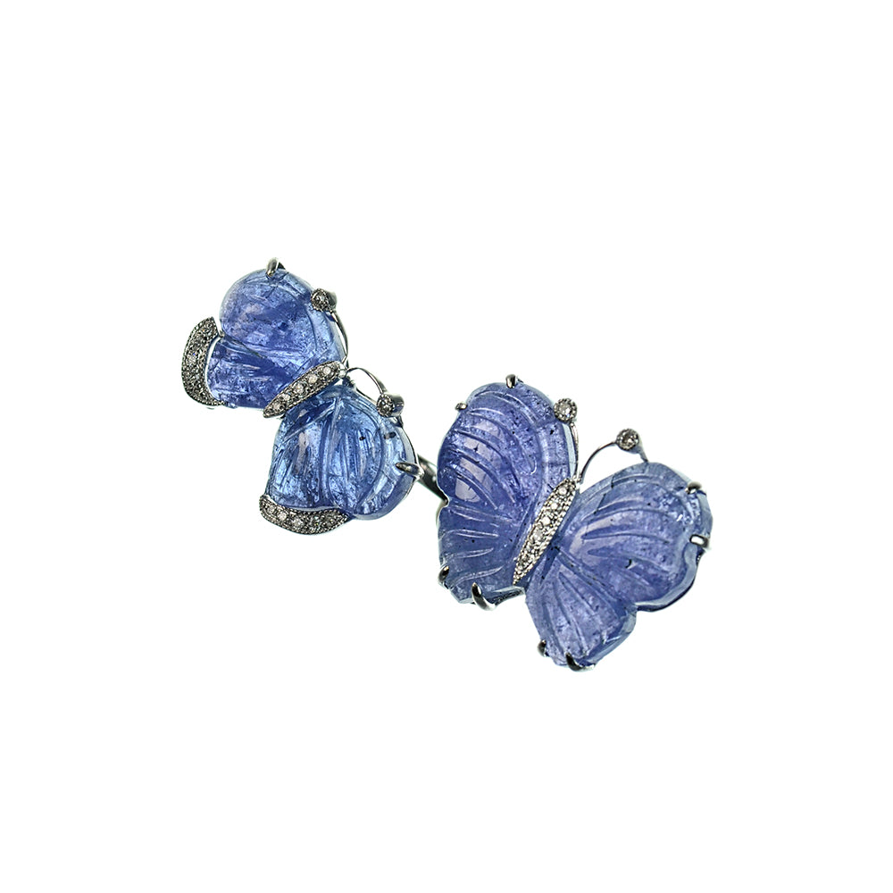 Carved Butterfly Tanzanite Ring