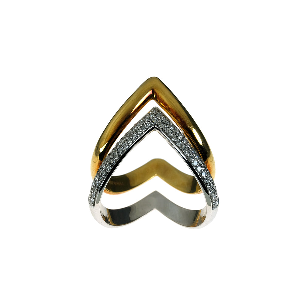 Diamond Ring in Yellow and White Gold