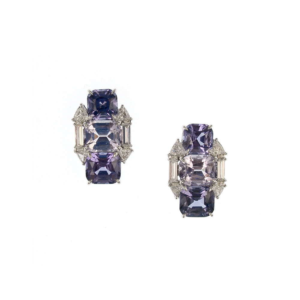 Blue, Silver, and Lavender Spinel Earrings
