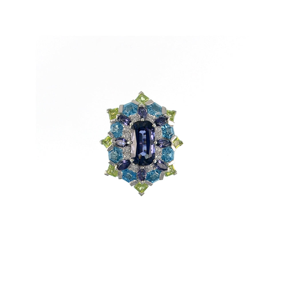 Iolite, Peridot, and Topaz Ring