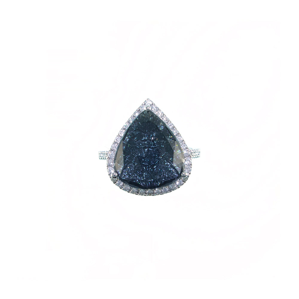 Blue-Black Tourmaline Rose Cut with diamonds underneath Ring