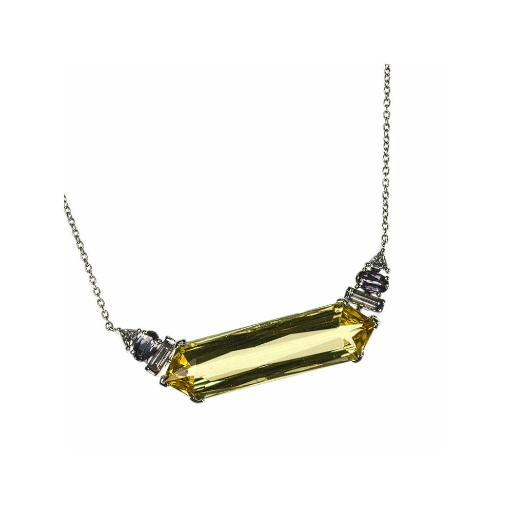 Long Hexagon Yellow Beryl Necklace