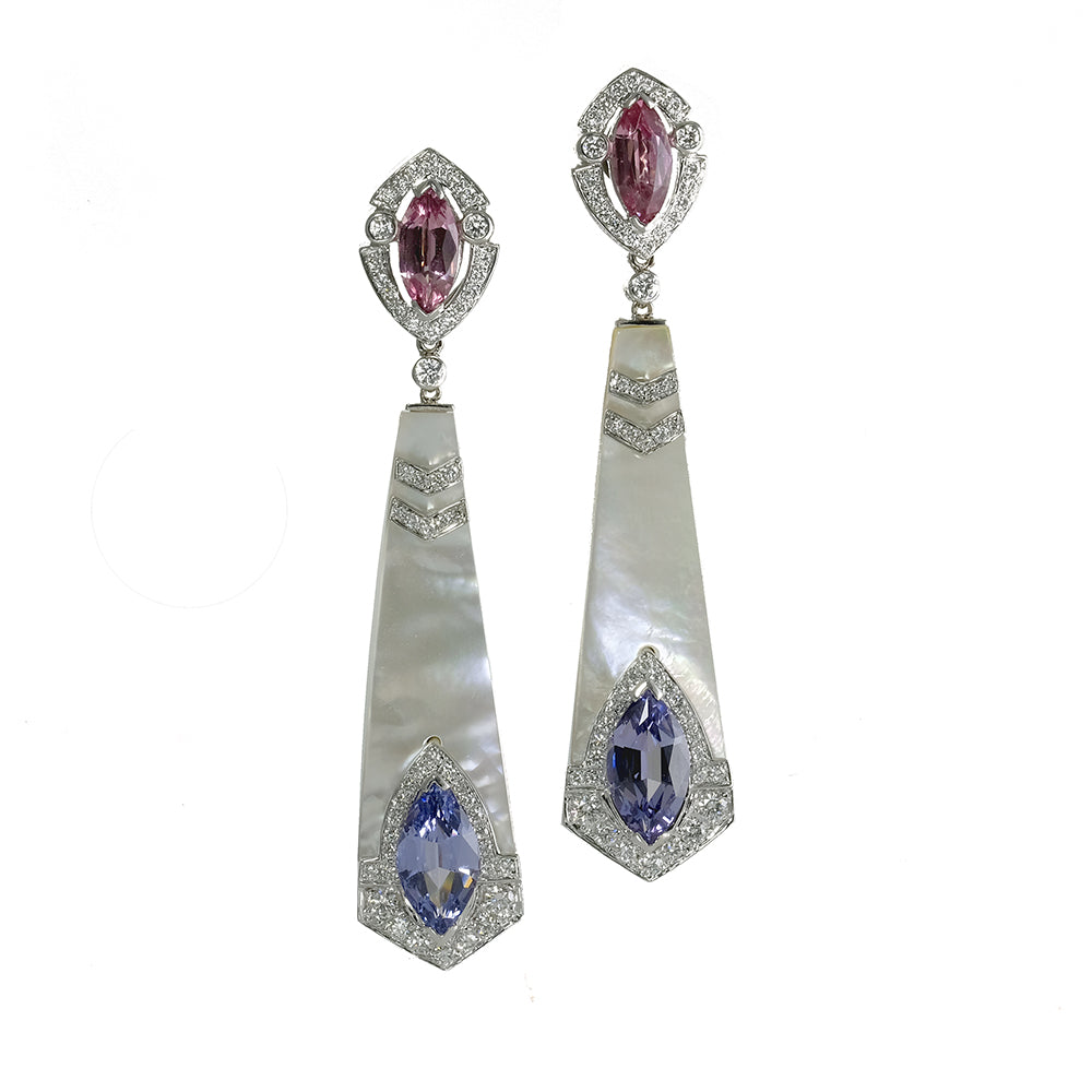 Obelisk Pink and Purple Spinel Earrings