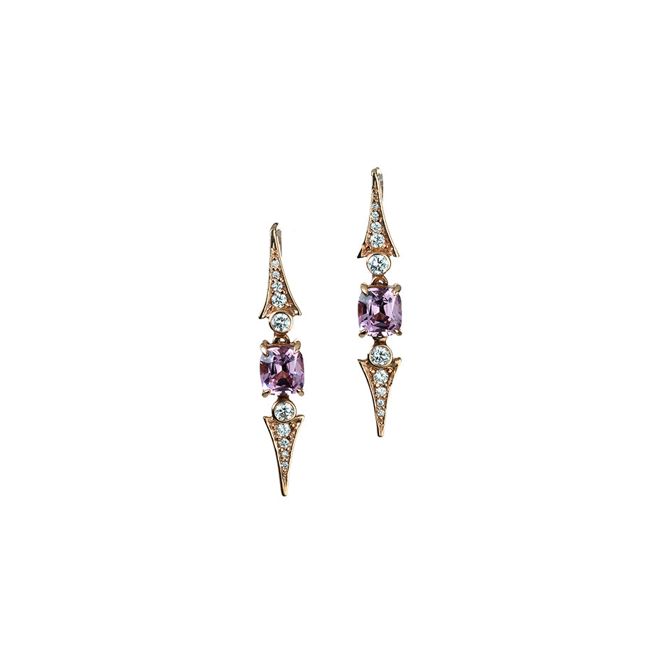 Pink Spinel and Diamond Hook Earrings