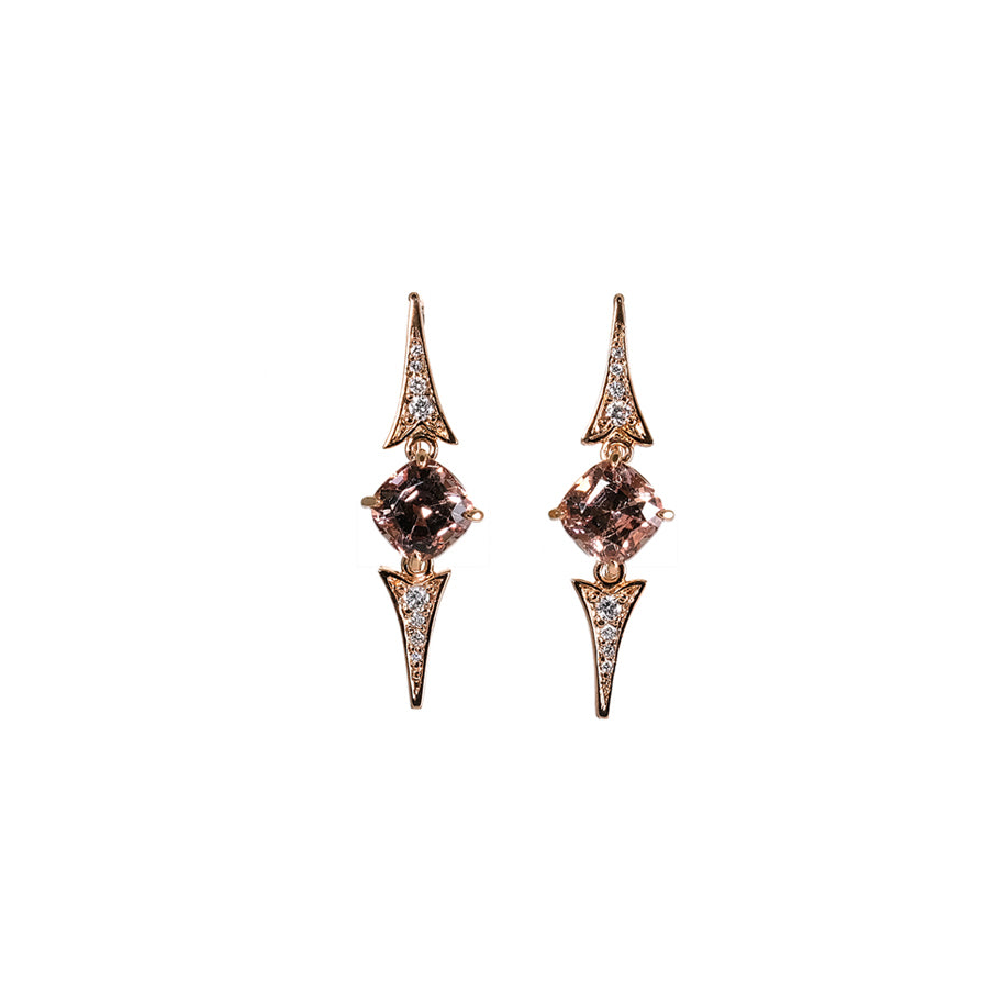 Malaia Garnet and Diamond Hook Earrings