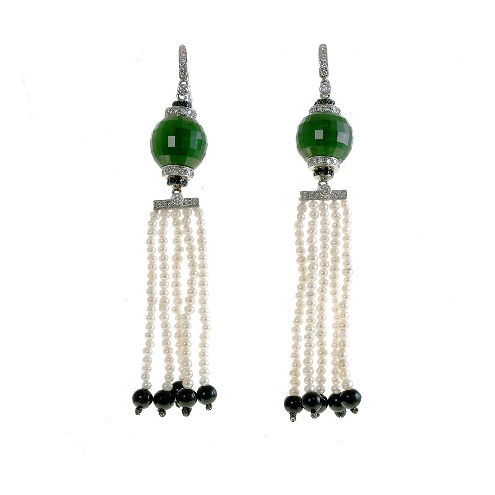 Facetted Jade Hook Earrings with Pearl Fringe