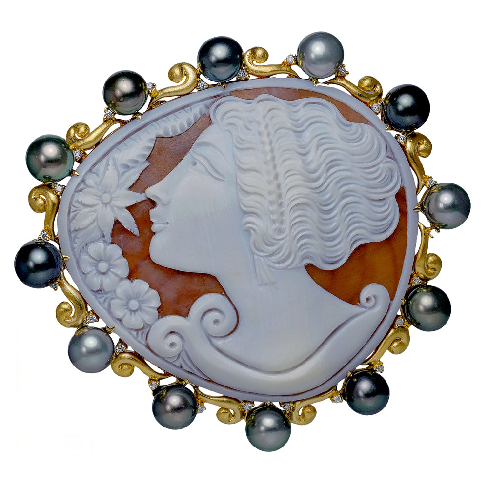 Roman Goddess Cameo Carved by Parlati with Multi Shade Grey South Sea Pearl Pin/Pendant