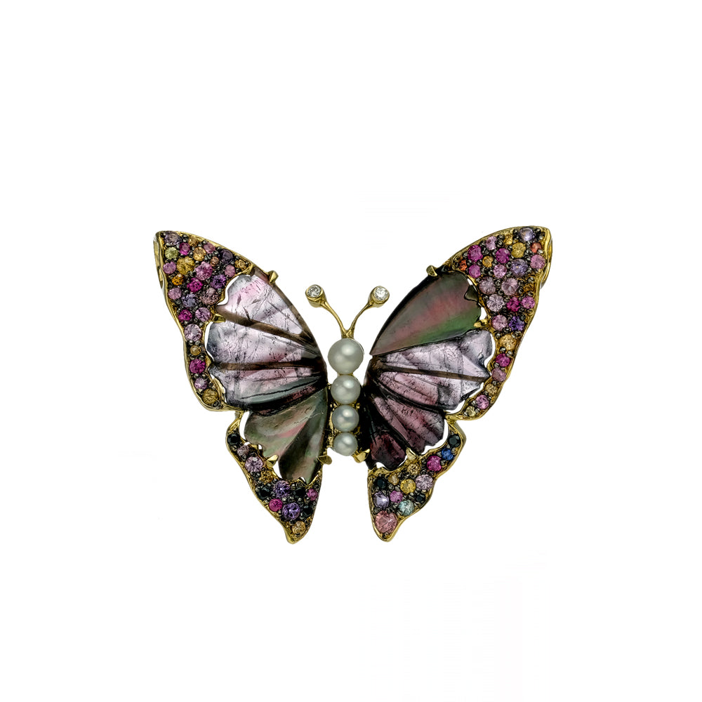 Tourmaline and Abalone Shell Butterfly Pendant